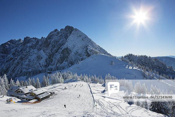 Österreich  Oberösterreich  Salzkammergut  Gosau  Skigebiet Dachstein-West  Skipiste gegen die Sonne  Zwieselalm  Sonnenalm mit Blick auf Gosaukamm  Dachsteinmassiv