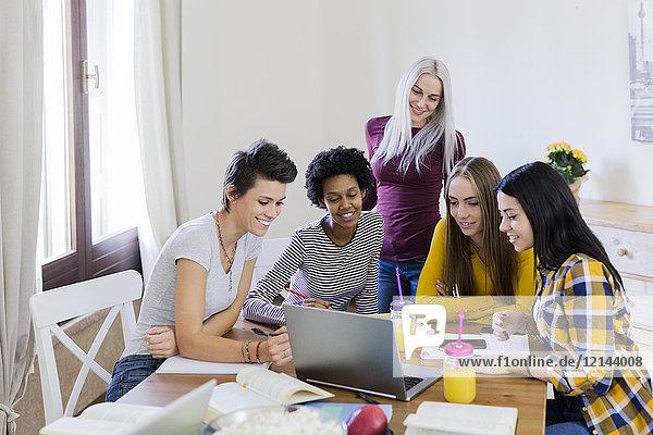 Gruppe von Studentinnen  die sich zu Hause den Laptop am Tisch teilen