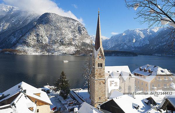 Österreich  Oberösterreich  Salzkammergut  Hallstatt  Hallstätter See  evangelische Kirche