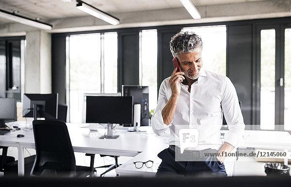 Erwachsener Geschäftsmann am Handy im Büro
