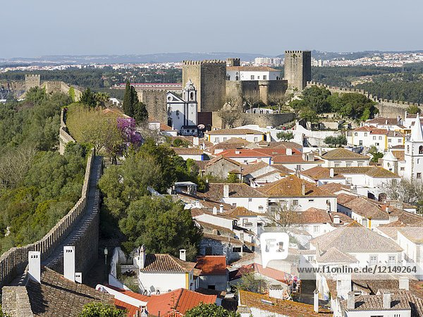 View over town. Historic small town Obidos with a medieval old town  a tourist attraction north of Lisboa Europe  Southern Europe  Portugal.