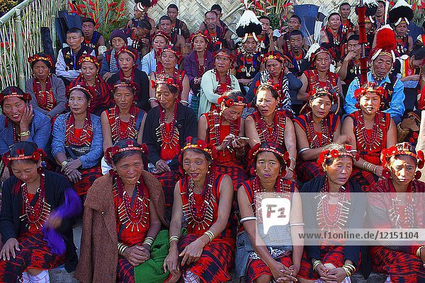 Konyak Tribe women at Horbnill Festival  Kisama  Nagaland  India.