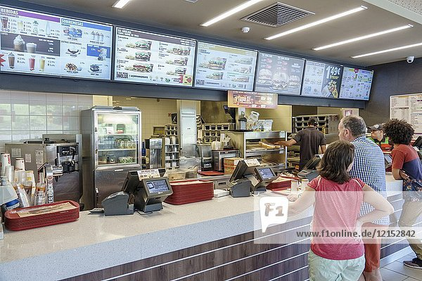 Portugal  Lisbon  Marquess of Pombal  Burger King  restaurat  fast food  counter  menu  man  woman  Portuguese Europe EU European Hispanic