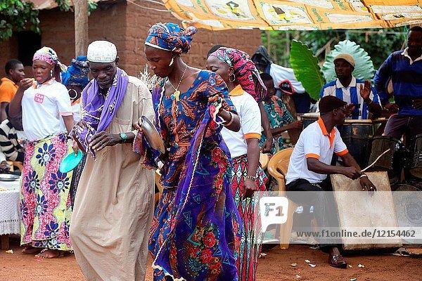 Dancers in an african village.