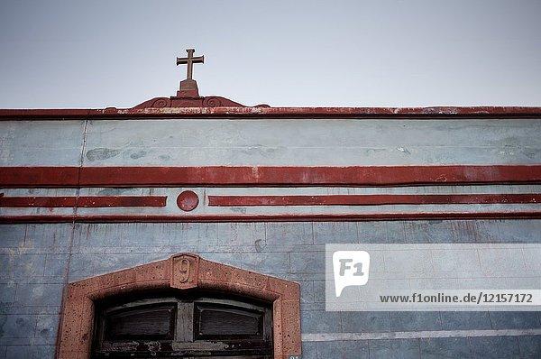 The facade of a colonial house in Santiago de Queretaro  Mexico.