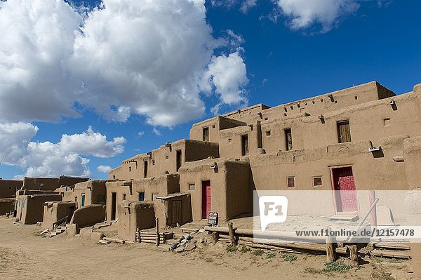 The Taos Pueblo which is the only living Native American community designated both a World Heritage Site by UNESCO and a National Historic Landmark in Taos  New Mexico  USA.