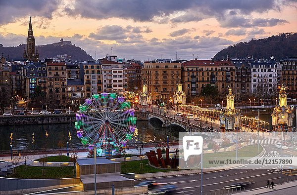 View of the city from Tabakalera  Maria Cristina Bridge  Ferris wheel  Christmas  Donostia  San Sebastian  Gipuzkoa  Basque Country  Spain  Europe
