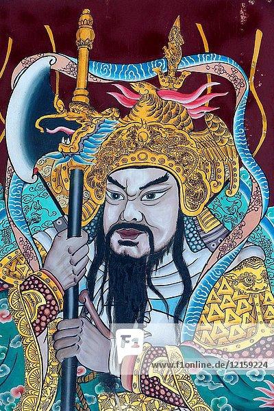 Thian Hock Keng Temple. Door god. Yuchi Gong.