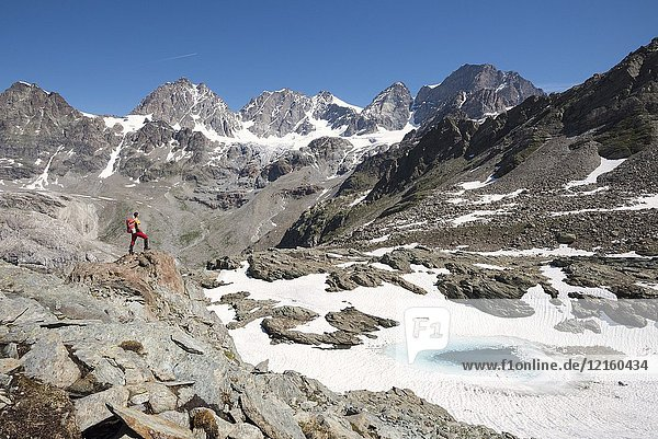 Hiker looking at the glacier and the peaks of the Bernina Group above the lake of Forbici (Lago delle Forbici)  Valmalenco  Province of Sondrio  Valtellina  Lombardy  Italy Europe.