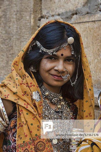 Maharani portrait  Jaisalmer  India.