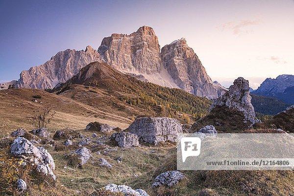 Mount Pelmo and Pelmetto as seen from Col Roan  Dolomites  Borca di Cadore  Belluno  Veneto  Italy.