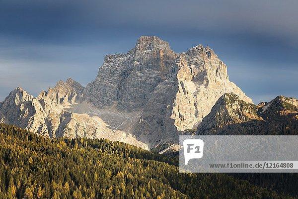 The massif of Pelmo in autumn as seen from Selva di Cadore  Belluno  Veneto  Italy.