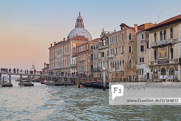 Temporary votive pedestrian bridge built over the Grand Canal giving access to the Basilica of Saint Mary of Health for the the annual recurrence  19th november 2017  Venice  Veneto  Italy.
