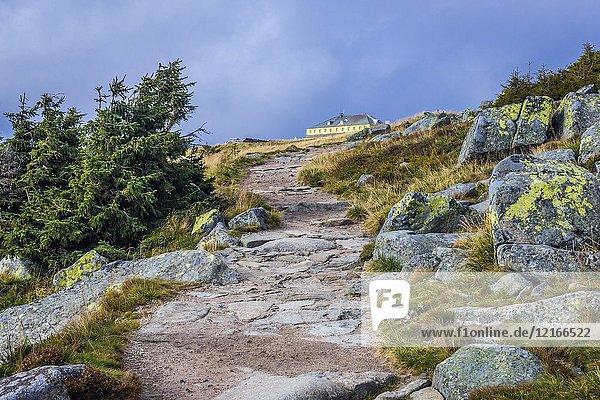 Trail to pass under Sniezka Mountain in Karkonosze mountain range in Sudetes  on the border of Czech Republic and Poland.
