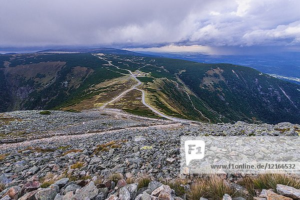 Aerial view on the pass under the Sniezka Mountain in Karkonosze mountain range in Sudetes  on the border of Czech Republic and Poland.