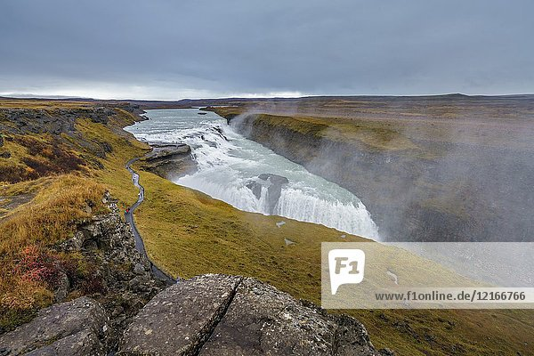 Gullfoss Waterfall (Golden Falls)  Iceland.