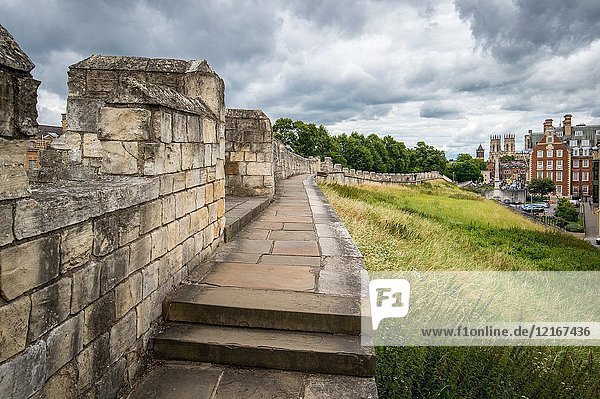 Closeup of the ancient York Walls that surround the City of York  Yorkshire  United Kingdom.