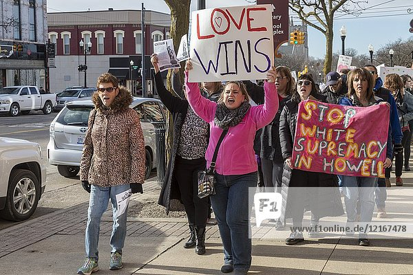 Howell  Michigan USA - 27 January 2018 - Residents organized a 'March Against Fear' to protest white nationalist literature distributed recently in their community. The town  which is 95% white  has long had a reputation of tolerating the Ku Klux Klan and other hate groups.