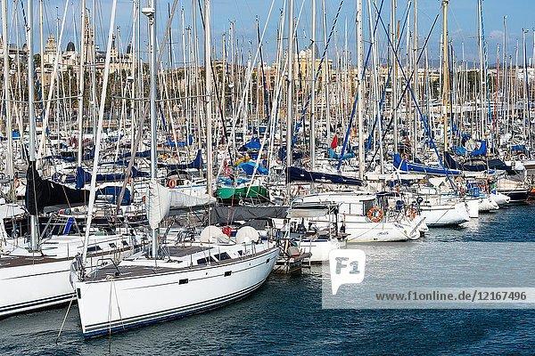 Sailing boats at the Moll de la fusta Port Vell Barcelona Spain.