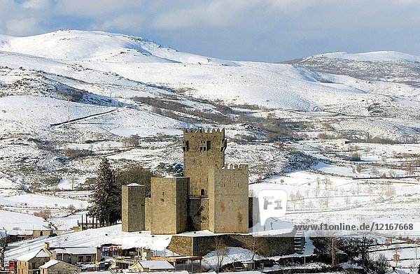The medieval castle of Montalegre in a snowy day. Trás-os-Montes  Portugal.