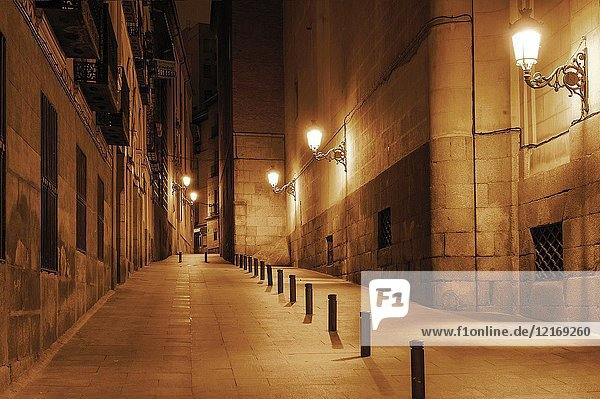 Charming old city pedestrian street  Madrid  Spain.