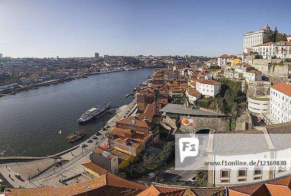Cityscape in Porto,  Portugal. View from the top of the Luis I bridge.