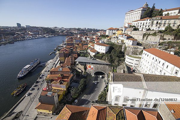 Cityscape in Porto  Portugal. View from the top of the Luis I bridge.