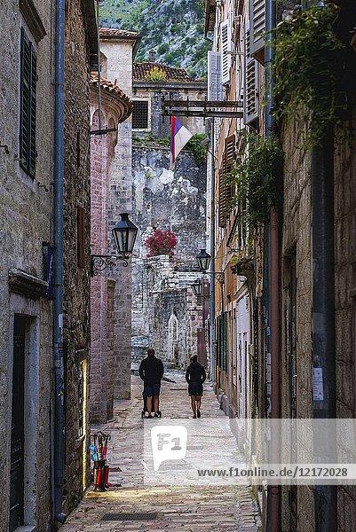 Kotor coastal city  located in Bay of Kotor of Adriatic Sea  Montenegro.