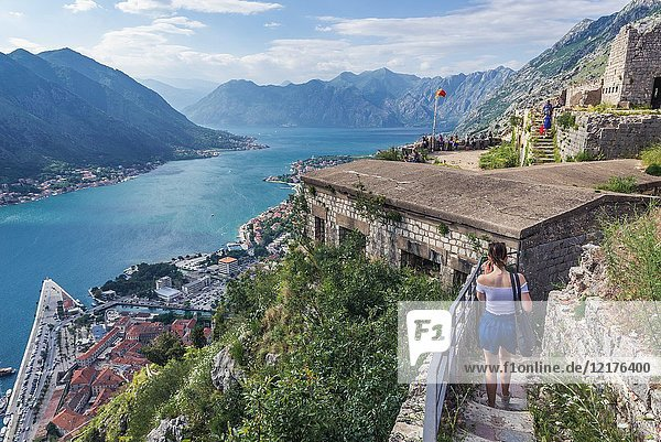 Remains of ancient fortress on Saint John hill above Kotor coastal city  located in Bay of Kotor of Adriatic Sea  Montenegro.