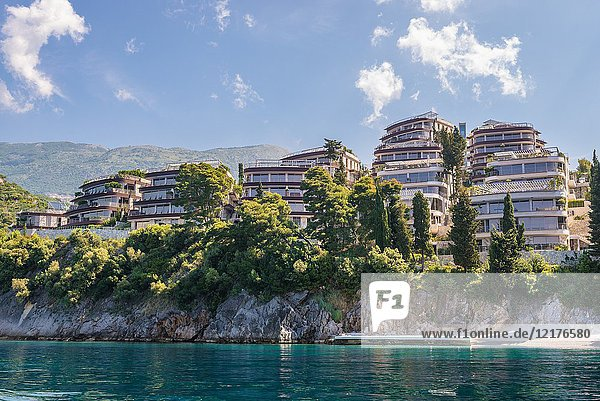 Dukley Gardens Residential Complex on Zavala Peninsula in Budva city on the coast of Adriatic Sea in Montenegro.