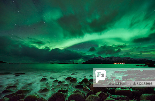 Aurora borealis  Kaldfjord  Tromsø  Norwegen  Europa