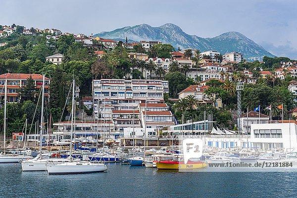 Herceg Novi city on the Adriatic Sea Bay of Kotor coast in Montenegro  view with marina.