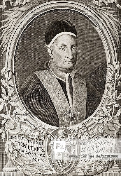 Pope Benedict XIII was Pope from 29 May 1724 to his death in 1730.