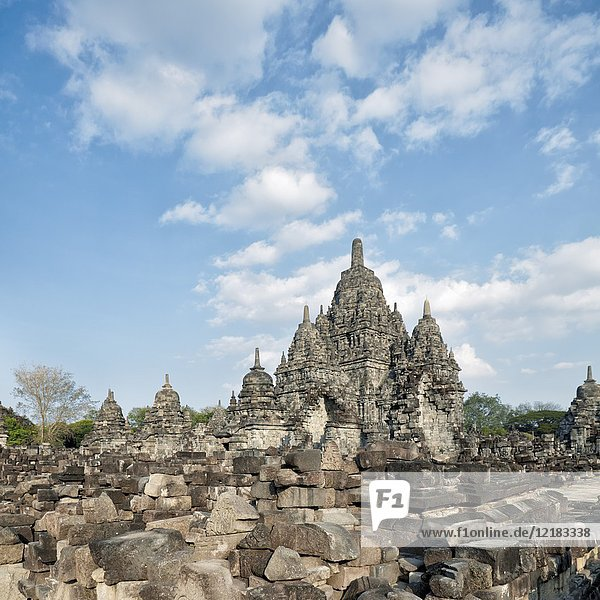 Remains of ruined ancient temples at the Sewu Buddhist Temple Compound. Special Region of Yogyakarta  Java  Indonesia.