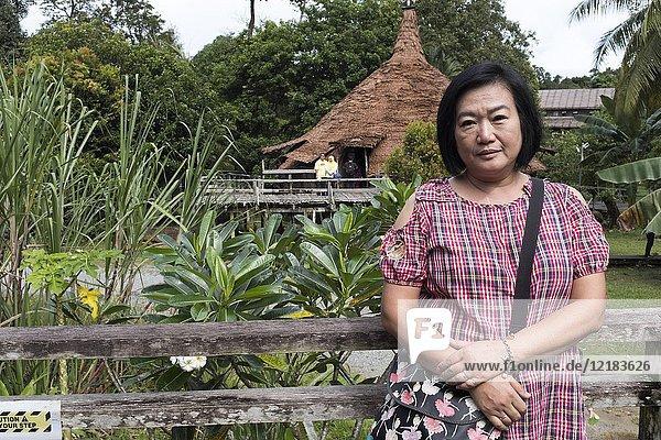Portrait of a Taiwanese woman at Sarawak Cultural Village  Damai  Sarawak  Malaysia.