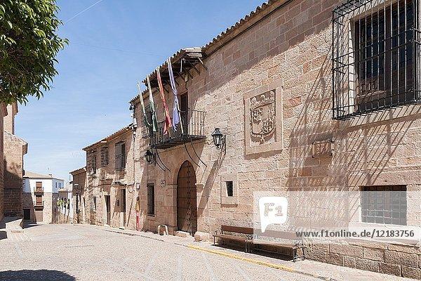 Town hall and Plaza Mayor. Baños de la Encina. Jaén. Andalusia. Spain.