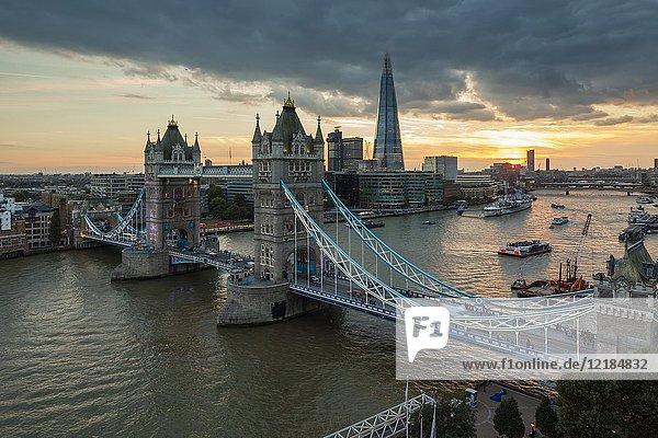 Sunset at Tower Bridge in London  England.