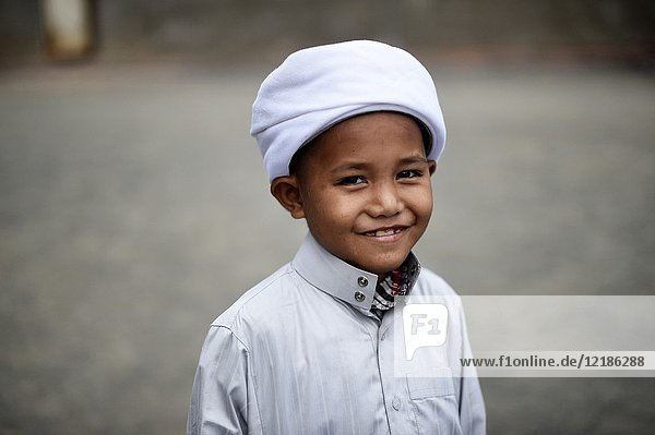 Portrait of a young Cambodian Cham Muslim boy in Kampong Cham  Cambodia  South East Asia  Asia.