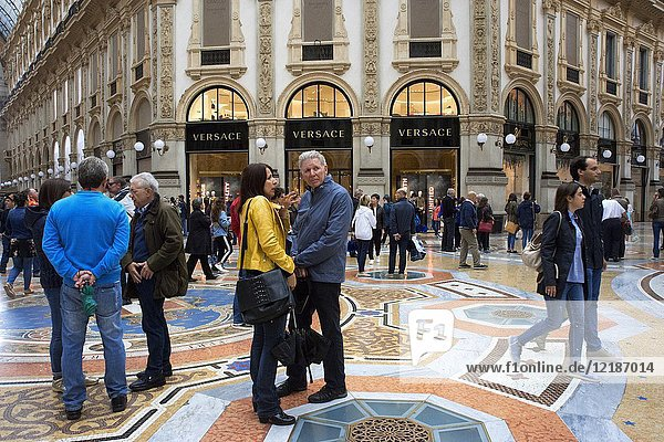 Vittorio Emanuele gallery interior  Milan  Italy. The Galleria Vittorio Emanuele II is one of the world's oldest shopping malls  Milan  Italy  Europe.