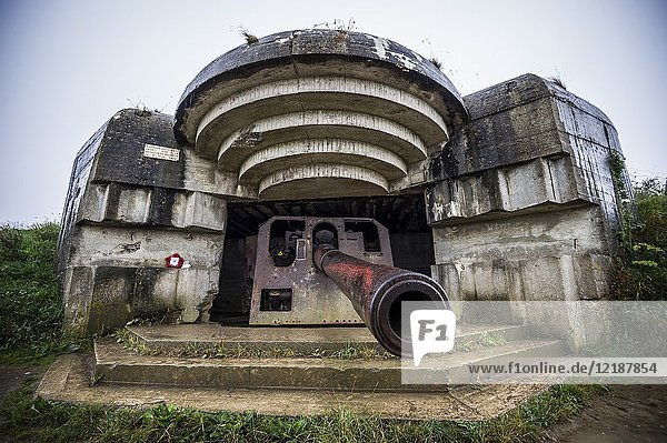 An artillery gun in the german coastal battery at Longues-sur-Mer was located between Omaha and Gold Beaches (department of Calvados  region of Normandie  France).