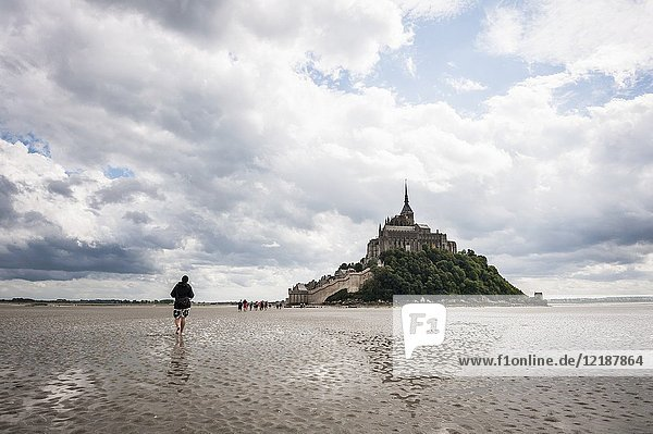 Guided tour to cross Mont Saint Michel bay during low tide (department of Manche  region of Normandie  France).