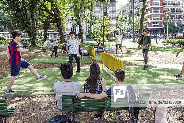 Argentina  Buenos Aires  Plaza Rodriguez Pena  park  teen  boy  playing soccer football  foot tennis  futnet  sport  Recoleta  Hispanic  Argentinean Argentinian Argentine South America American