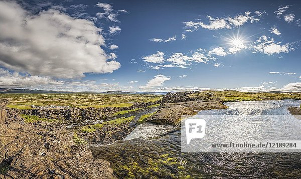 Almannagja fissure and Oxara river. Thingvellir National Park  a Unesco World Heritage Site  Iceland.