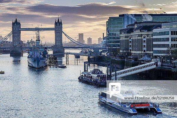 The River Thames and Tower Bridge At Dawn  London  England.