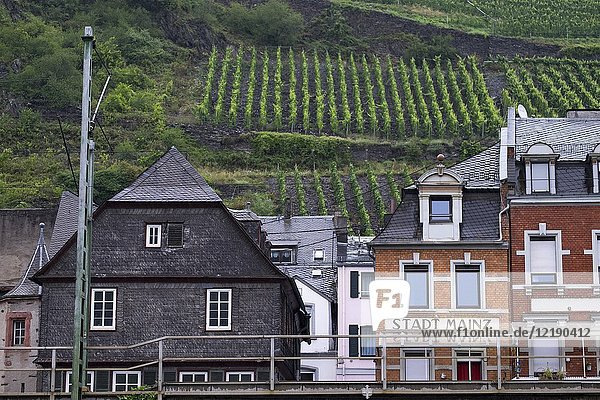 The village of Kaub on the banks of the river Rhine in the castle area UNESCO World Cultural Heritage Site  Upper Middle Rhine Valley  Rhineland-Palatinate  Germany  Europe.