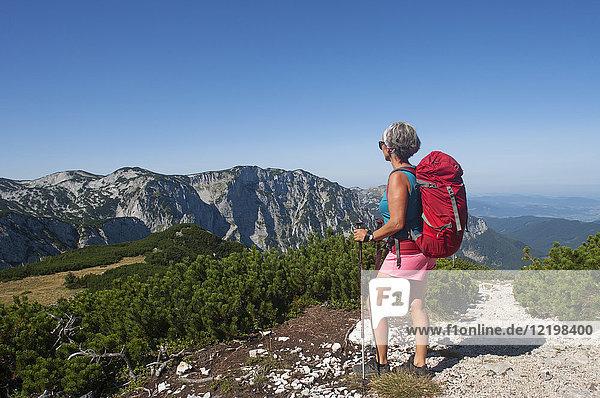 Österreich  Salzkammergut  Ebensee  Feuerkogel  Blick auf den Langbathsee  Höllengebirge  Wandererinnen