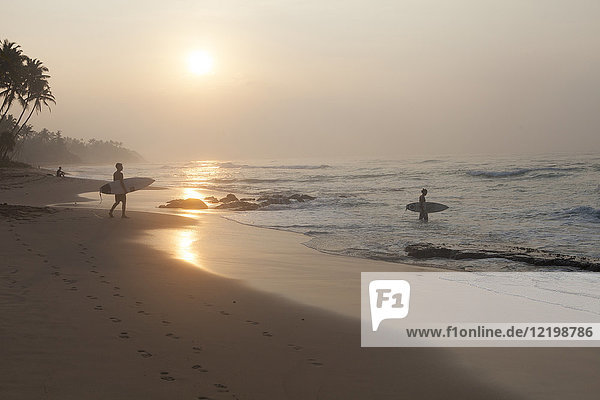 Sri Lanka  Mirissa  sunrise  beach with surfer
