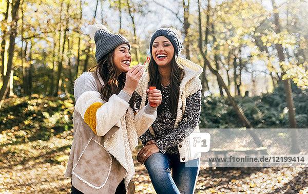 Zwei schöne Frauen haben Spaß mit Seifenblasen in einem herbstlichen Wald.