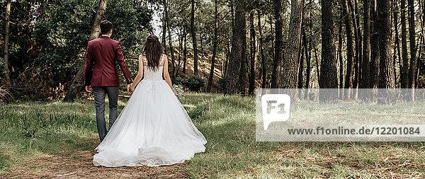 Rückansicht von Braut und Bräutigam beim Waldspaziergang