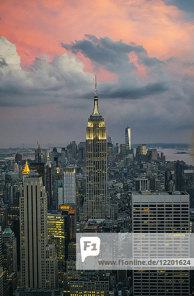USA  New York  Manhattan  Empire State Building and One World Trade Center in background